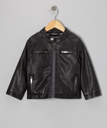 Charcoal Faux Leather Moto Jacket - Toddler