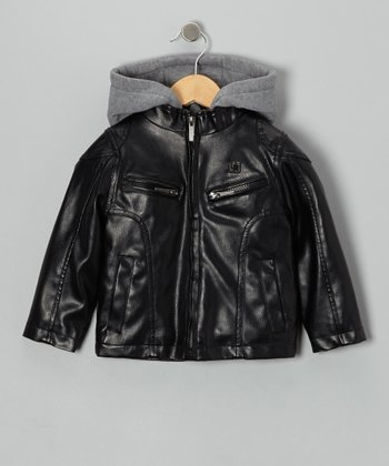 Black Faux Leather & Fleece Hooded Jacket - Boys