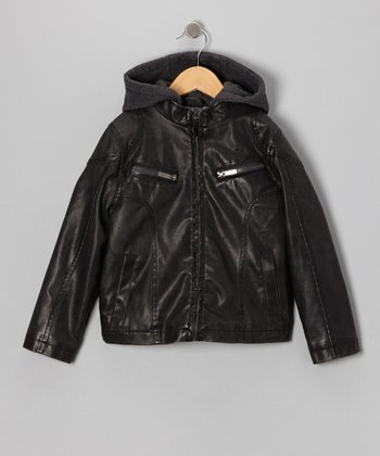 Charcoal Faux Leather & Fleece Moto Hooded Jacket - Toddler