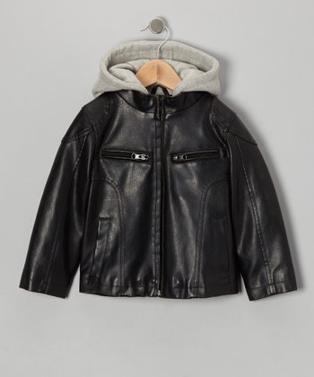 Tobacco Faux Leather & Fleece Hooded Jacket - Toddler