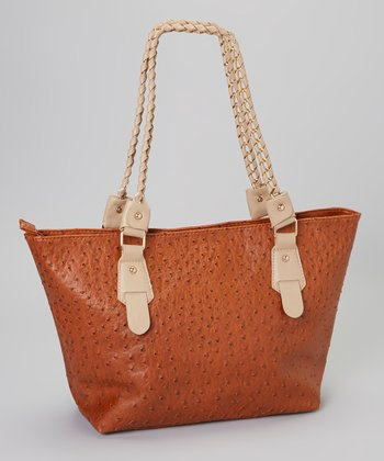 Brown Ostrich-Embossed Tote
