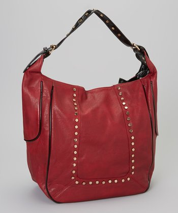Burgundy Studded Hobo