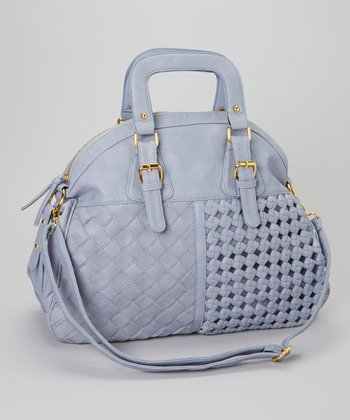 Gray Basket Weave Satchel