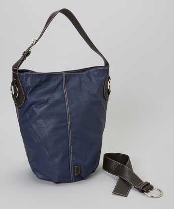 Navy Barrel Bucket Bag