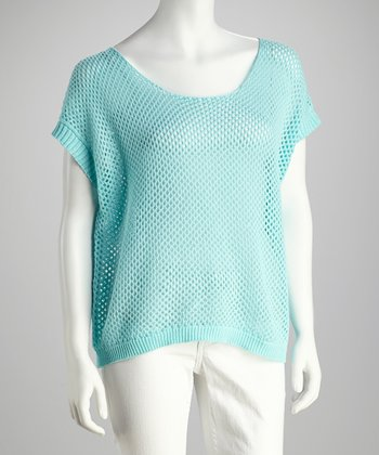 Aqua Dropped-Shoulder Mesh Top