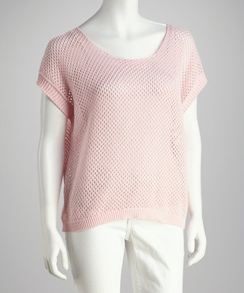 Pink Dropped-Shoulder Mesh Top