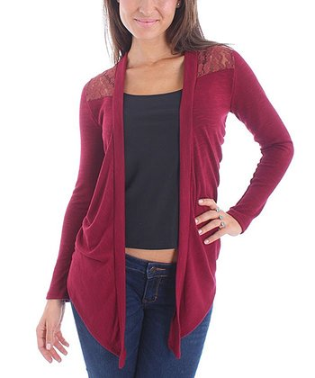 Burgundy Lace Open Cardigan