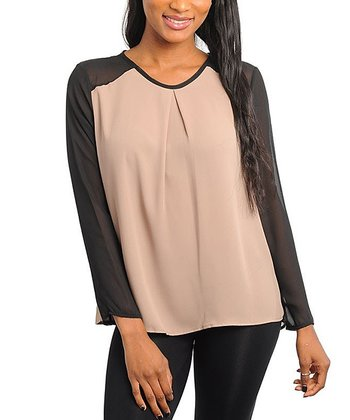 Black & Taupe Color Block Top