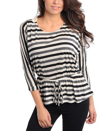 Black & Ivory Stripe Tie-Waist Top