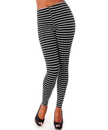 White & Black Stripe Leggings