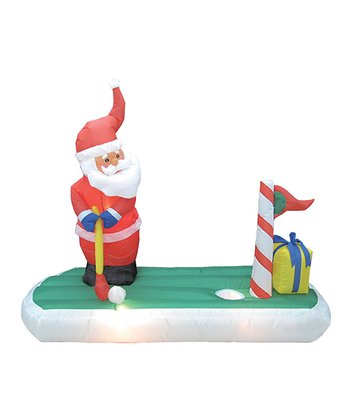 BZB Goods Santa Claus Play Golf Inflatable Light-Up Lawn Decoration