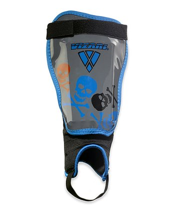Blue & Silver Skulls Shin Guards