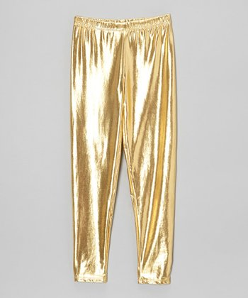 Shiny Gold Leggings - Toddler & Girls