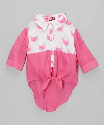 Stolen Pink Cat Tie-Front Top - Toddler & Girls