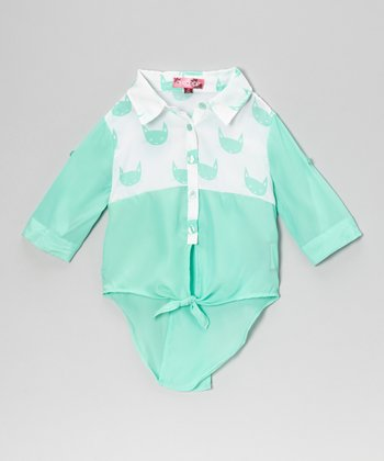 Jade Ice Cat Tie-Front Top - Toddler & Girls