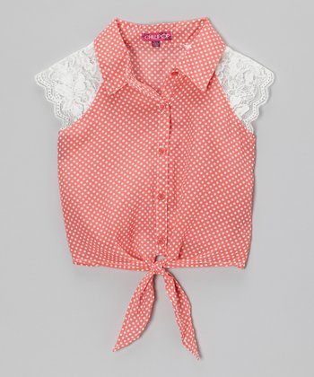 Rose Revival Lace & Polka Dot Tie-Front Top - Toddler & Girls