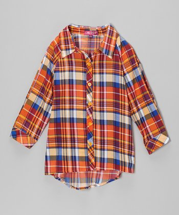 Orange & Blue Plaid Button-Up - Toddler & Girls