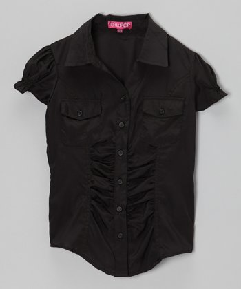 Blackthorn Puff-Sleeve Button-Up - Girls