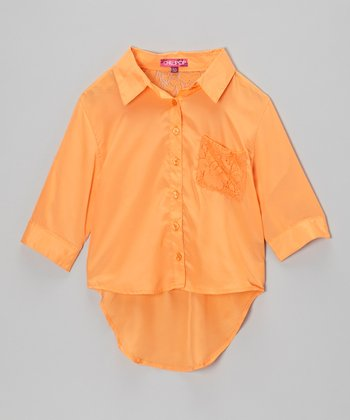 Pumpkin Pulp Lace-Pocket Button-Up - Girls