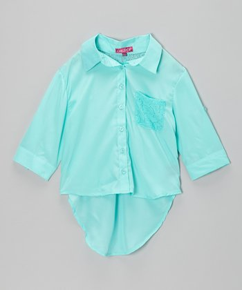 Jade Ice Lace-Pocket Button-Up - Girls