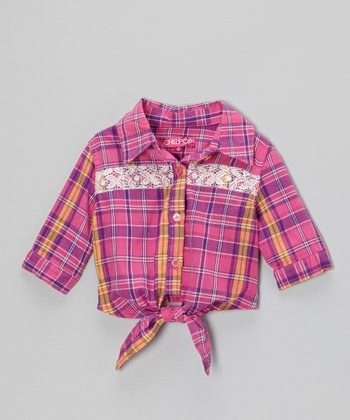 Rose & Purple Plaid Tie-Front Top - Toddler & Girls