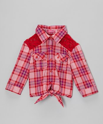Red & Pink Plaid Tie-Front Top - Girls