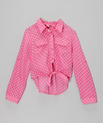 Rose & White Polka Dot Tie-Front Top - Girls