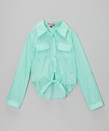 Jade & White Polka Dot Tie-Front Top - Girls