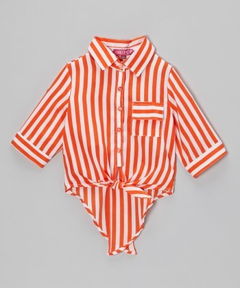Orange & White Stripe Hi-Low Button-Up - Toddler & Girls