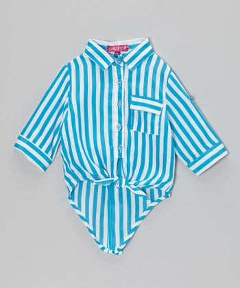 Azure & White Stripe Hi-Low Button-Up - Toddler & Girls