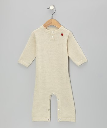 Nature White CashLlama Wool Playsuit - Infant