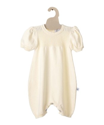 Yellow Cable-Knit Organic Bubble Romper - Infant