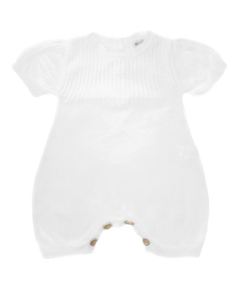 White Cable-Knit Organic Bubble Romper - Infant