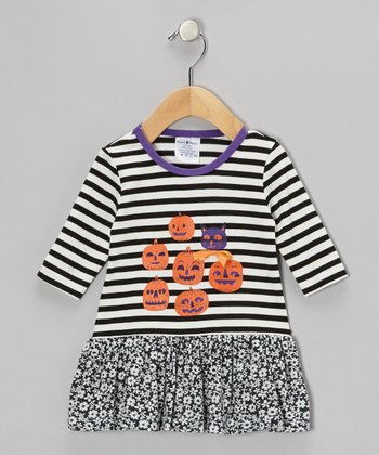 Black & White Stripe Pumpkin Party Flower Dress - Infant, Toddler & Girls