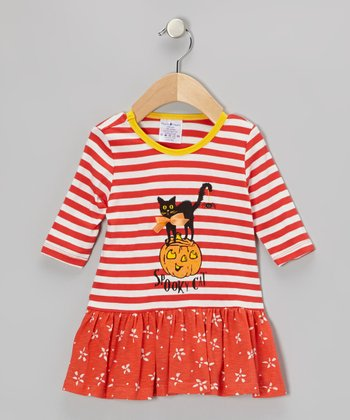 Orange & White Stripe 'Spooky Cat' Dress - Infant, Toddler & Girls