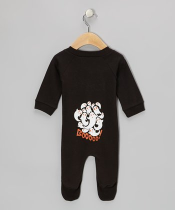 Black 'Booooo!' Footie - Infant