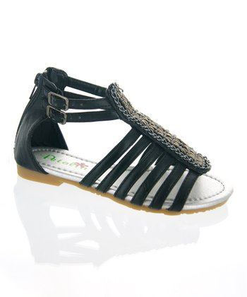 Black Strappy Gladiator Sandal