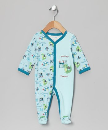 Blue Sleepy Dragon Footie - Infant