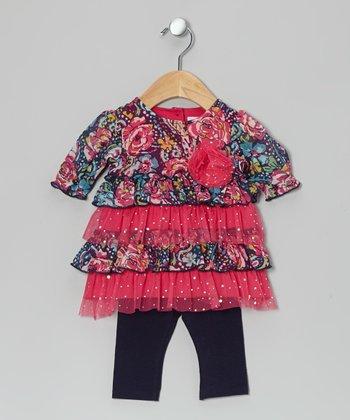 Vitamins Baby Fuchsia Floral Ruffle Dress & Leggings - Infant