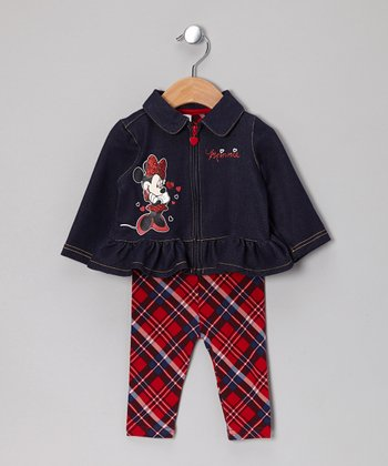 Denim Minnie Mouse Ruffle Jacket & Plaid Leggings