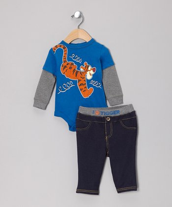 Blue Tigger Layered Bodysuit & Pants