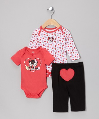 Pink Mickey & Minnie Mouse Bodysuit Set