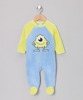 Blue & Green Monsters, Inc. Velour Wrap Footie