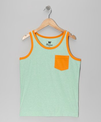 Green & Orange Solid Contrast Pocket Tank