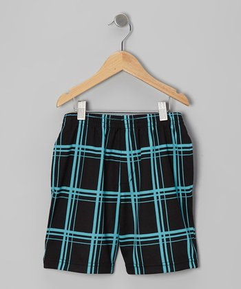 Teal & Gray Kaboom Mesh Shorts