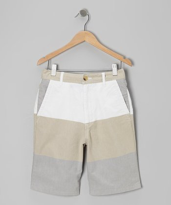 Khaki & Gray Block Stripe Shorts