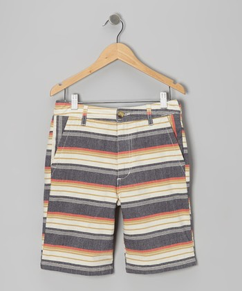 Beige & Gray Mexican Stripe Shorts