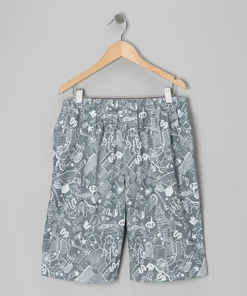 Mars Green & Gray City Mesh Shorts