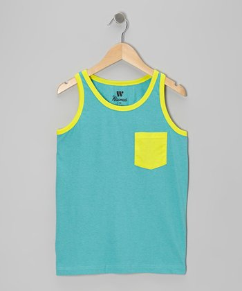 Aqua & Lime Contrast Pocket Tank