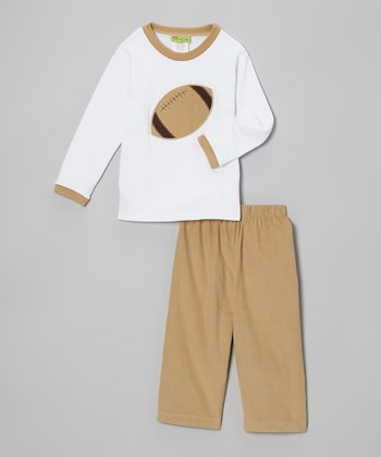 White Football Shirt & Tan Corduroy Pants - Toddler & Boys